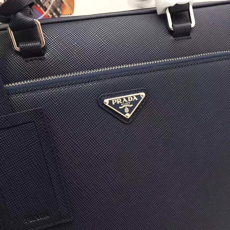 Prada新款2VE369经典永恒 双层拉链 进口原单粗十字纹牛皮 代工码165