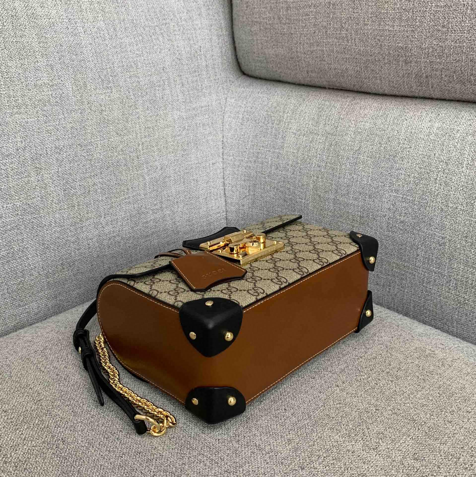 Gucci包包官网 古驰新款竹节包箱子包手提女包黑棕系列23CM