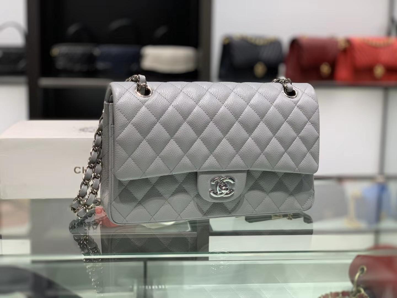Chanel(香奈儿)cf # 链条包 浅灰色 银扣 银链 30cm
