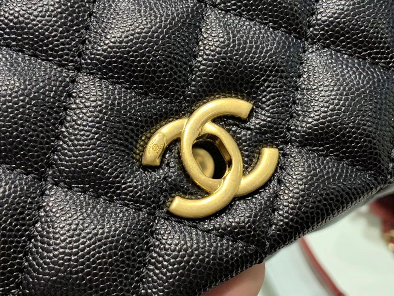 Chanel(香奈儿) coco handle 小号 链条包 黑色 金扣 蜥蜴手柄 24cm