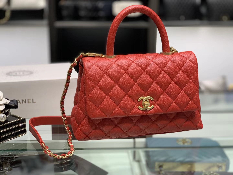 Chanel(香奈儿) coco handle 链条包 小号 朱砂红 金扣 24cm