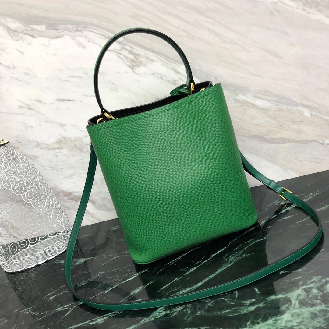 P家最新款double手袋1BA212 水桶型购物袋 撞色软羊皮衬里 釆用原厂意大利带香味
