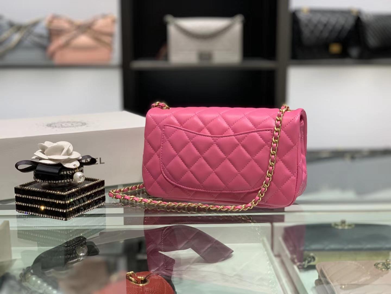 Chanel(香奈儿)最火 cf mini 小金珠 系列 玫红色 金扣 20cm