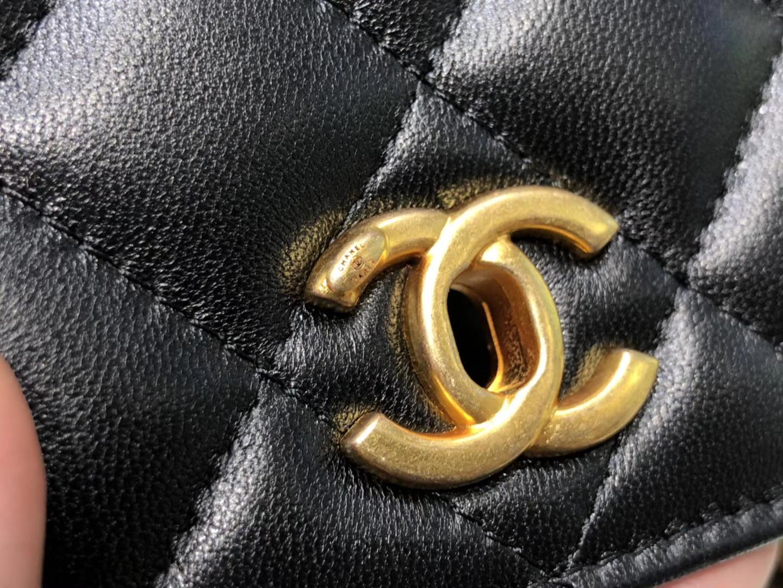 Chanel(香奈儿)最火 woc 小金珠系列 链条包 黑色 金扣
