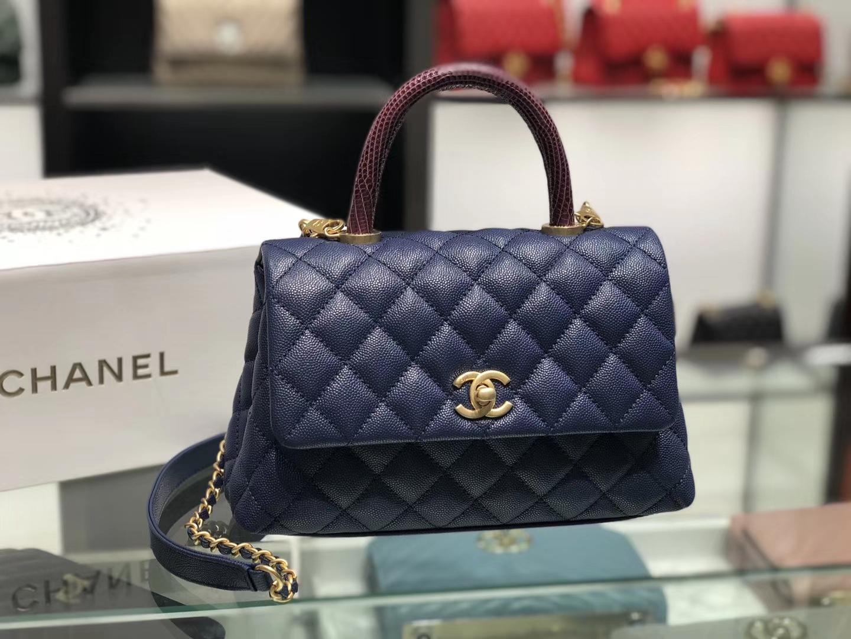 Chanel(香奈儿) coco handle 小号 链条包 藏蓝色 金扣 蜥蜴手柄 24cm