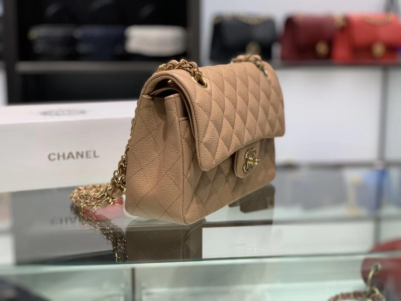 Chanel(香奈儿)cf # 链条包 卡其色 金扣 金链 23cm