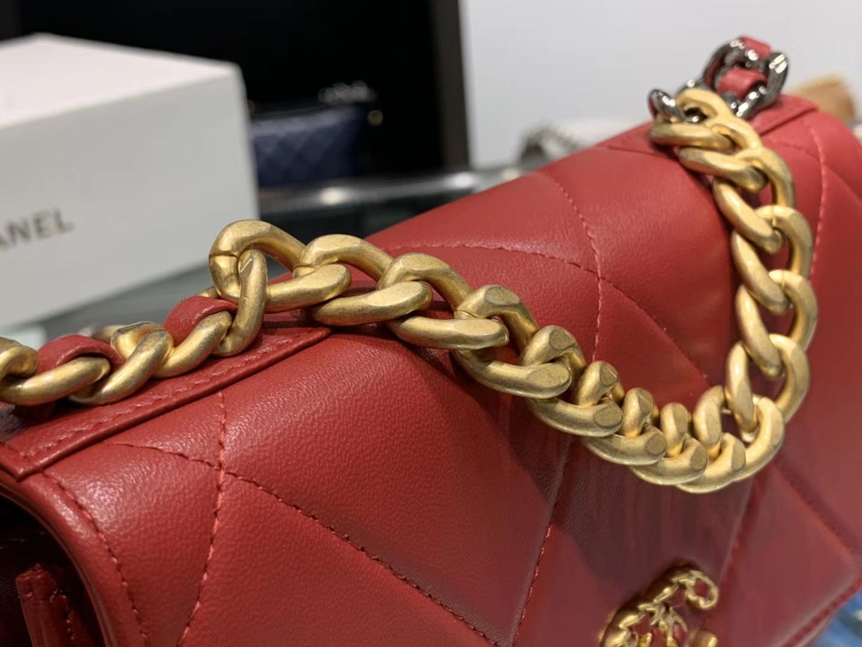Chanel(香奈儿)19 手袋 woc 链子晚宴包 枣红色 金扣