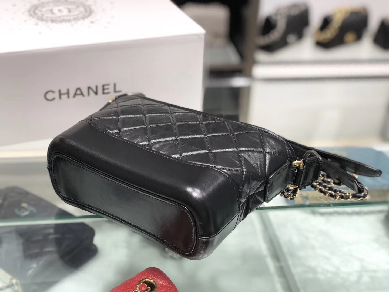 Chanel(香奈儿)𝖌𝖆𝖇𝖗𝖎𝖊𝖑𝖑𝖊 # 流浪包〔黑色菱格〕20cm