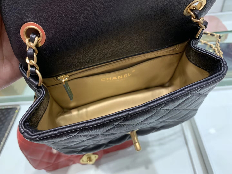 Chanel(香奈儿)最火 cf 方胖子 小金珠系列 黑色 金扣 18cm