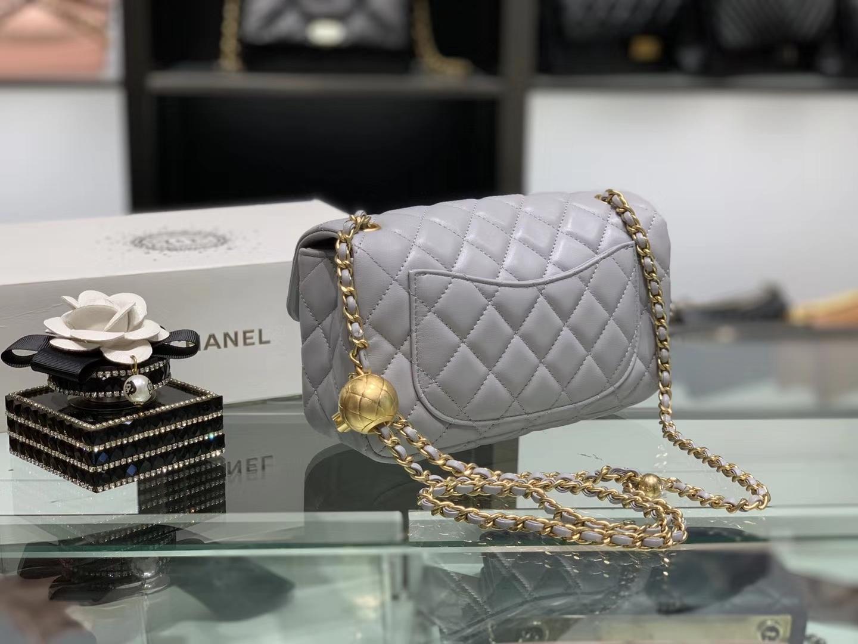 Chanel(香奈儿)最火 cf mini 小金珠 系列 灰蓝色 金扣 20cm