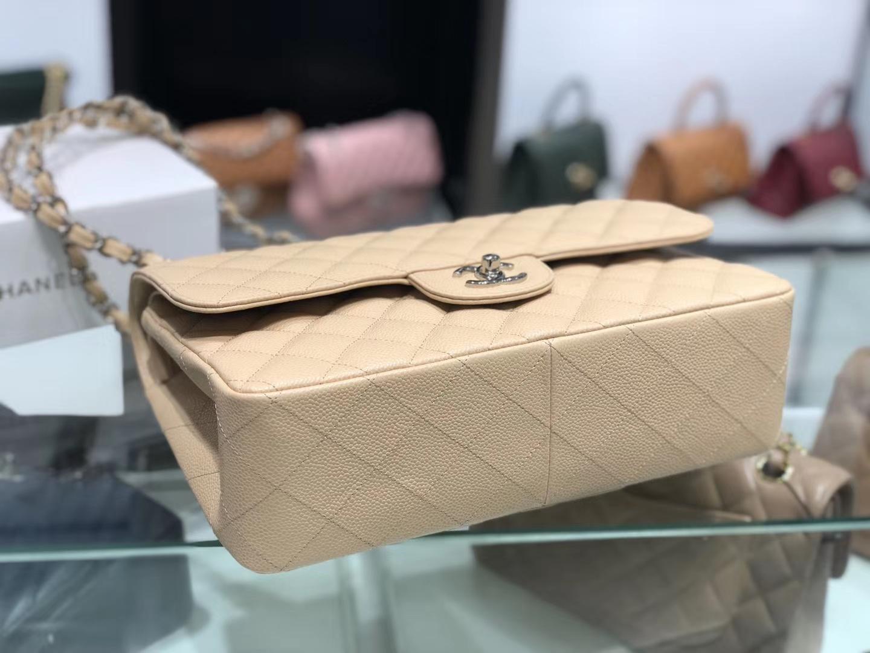 Chanel(香奈儿)cf jumbo 链条包 杏仁色 银扣 30cm