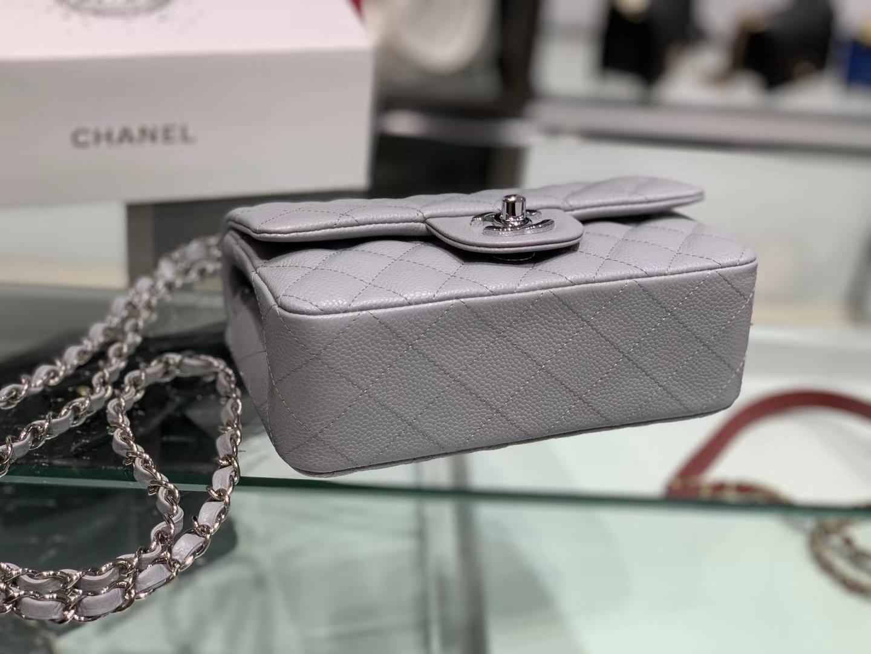 Chanel(香奈儿)cf # 链条包 浅灰色 银扣 银链 20cm