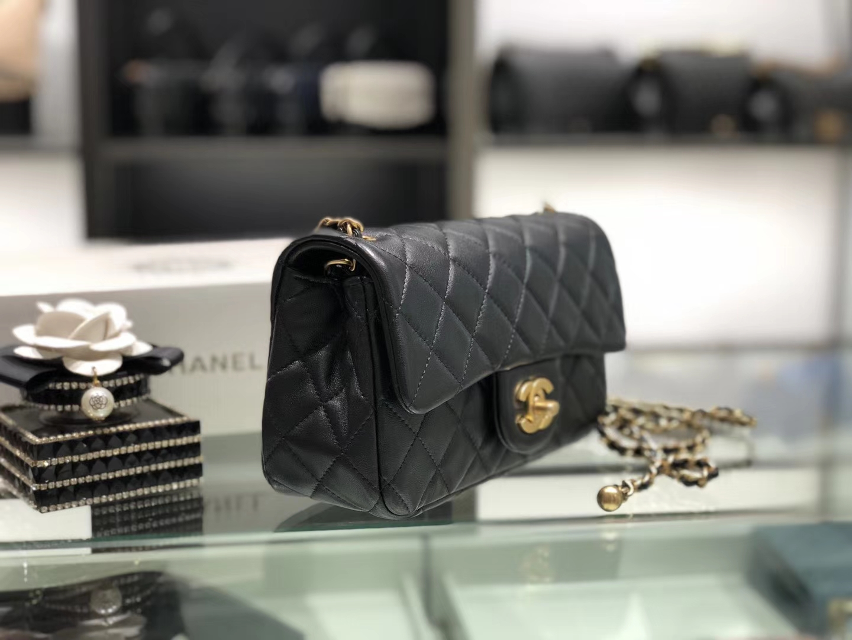 Chanel(香奈儿)最火 cf mini 小金珠 系列 黑色 金扣 20cm
