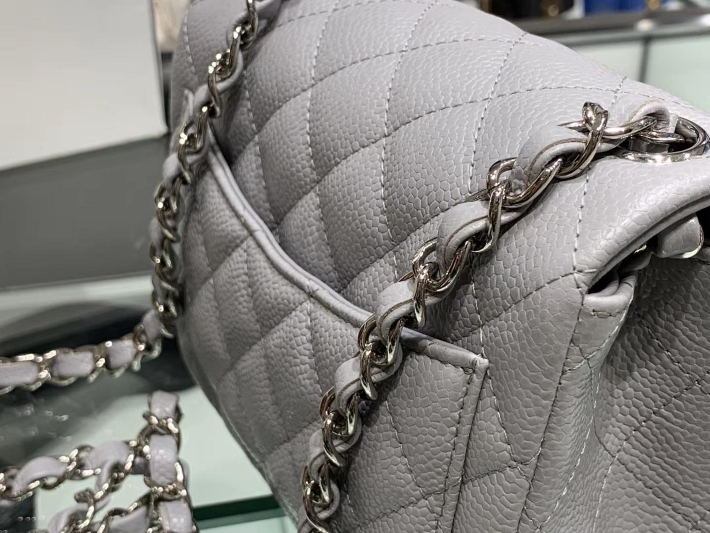 Chanel(香奈儿)cf # 链条包 浅灰色 银扣 银链 17cm