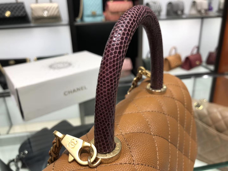 Chanel(香奈儿) coco handle 小号 链条包 金棕色 金扣 蜥蜴手柄 24cm
