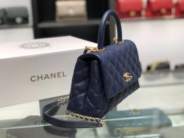 Chanel(香奈儿) coco handle 链条包 小号 藏蓝色 金扣 24cm