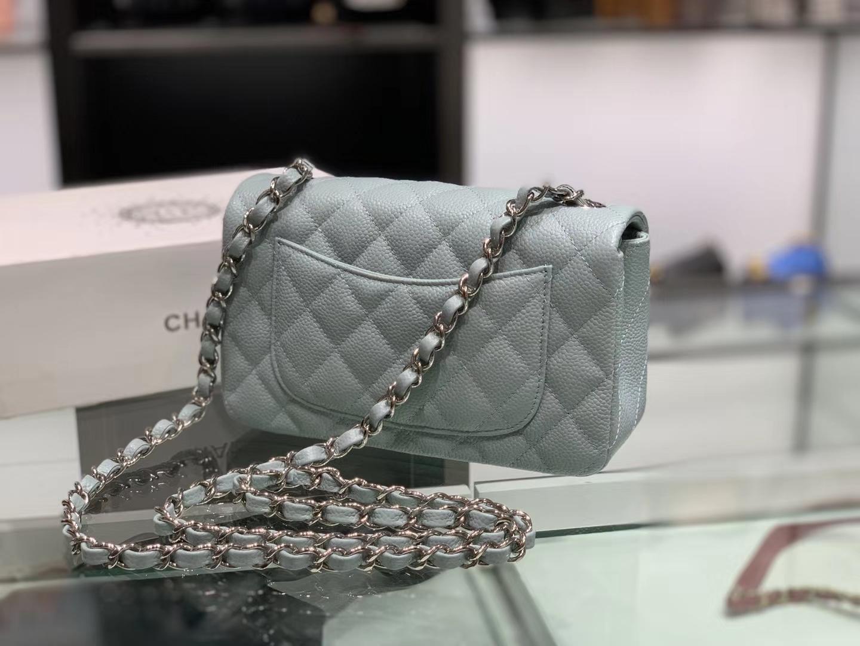 Chanel(香奈儿)cf # 链条包 浅灰蓝 银扣 银链 20cm