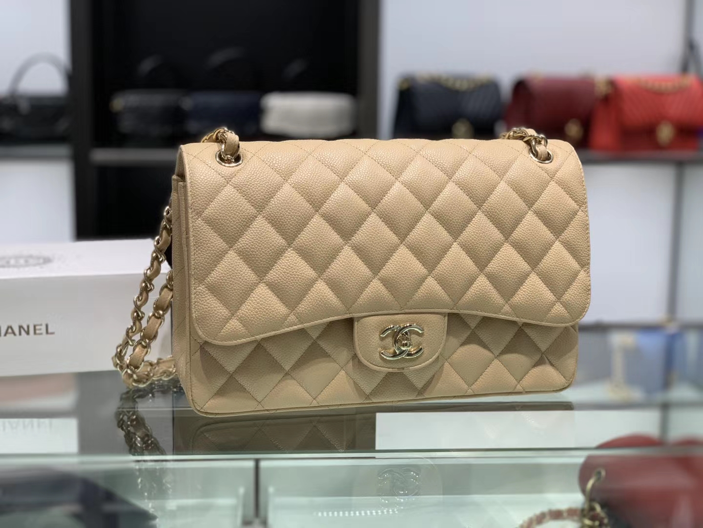 Chanel(香奈儿)cf jumbo 链条包 杏仁色 金扣 30cm