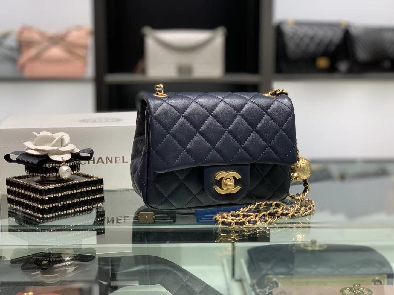 Chanel(香奈儿)最火 cf 方胖子 小金珠系列 藏蓝色 金扣 18cm