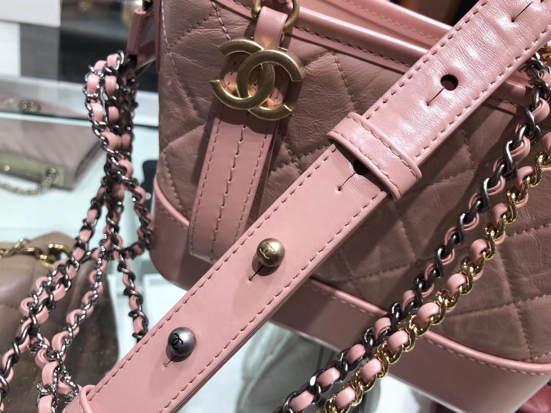 Chanel(香奈儿)𝖌𝖆𝖇𝖗𝖎𝖊𝖑𝖑𝖊 # 流浪包〔樱花粉 菱格〕20cm