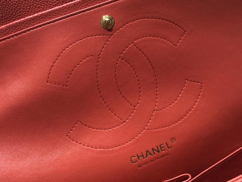 Chanel(香奈儿)cf jumbo 单肩包 红色 金扣 30cm