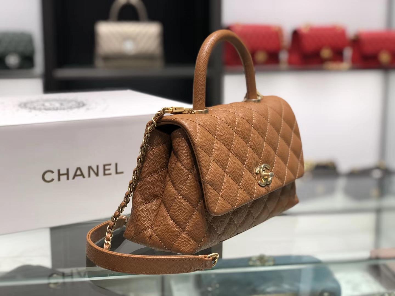 Chanel(香奈儿) coco handle 链条包 小号 金棕色 金扣 24cm