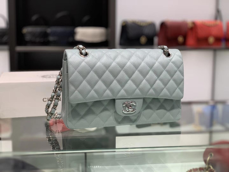 Chanel(香奈儿)cf # 链条包 浅灰蓝 银扣 银链 30cm