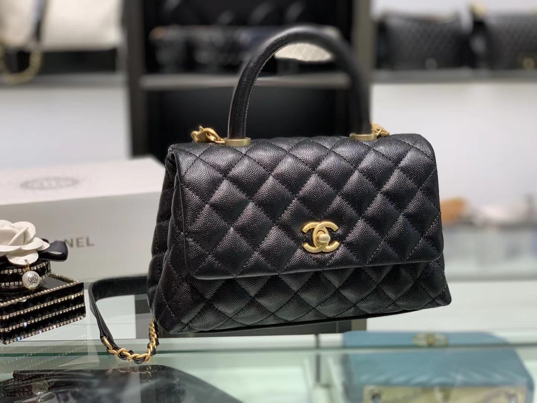 Chanel(香奈儿)coco handle 链条包 小号 黑色 金扣 24cm