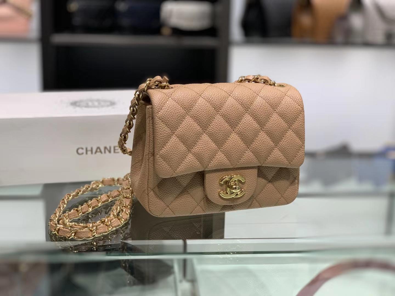 Chanel(香奈儿)cf # 链条包 卡其色 金扣 金链 17cm
