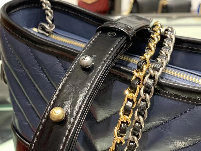 Chanel(香奈儿)𝖌𝖆𝖇𝖗𝖎𝖊𝖑𝖑𝖊 # 流浪包〔黑配蓝V纹〕20cm