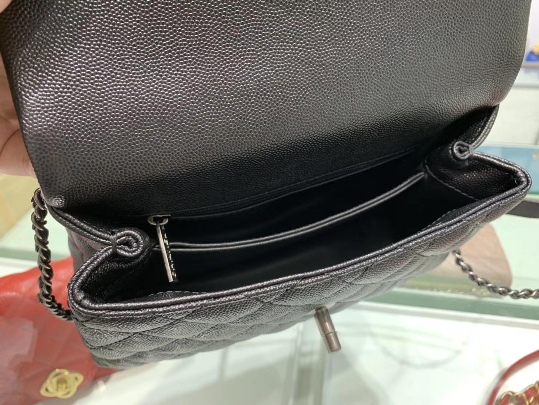 Chanel(香奈儿) coco handle 小号 链条包 黑色 银扣 蜥蜴手柄 24cm