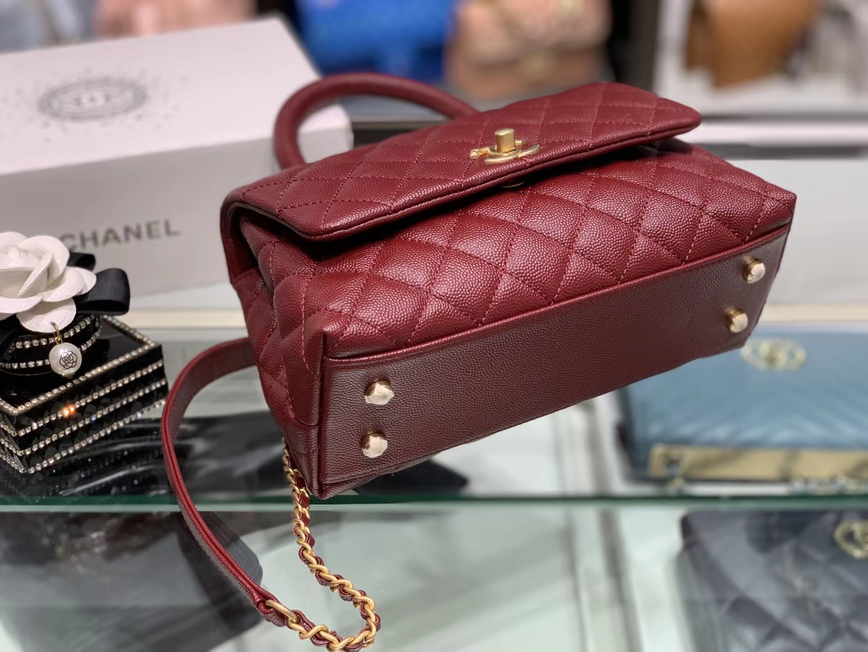 Chanel(香奈儿) coco handle 小号 链条包 酒红色 金扣 24cm