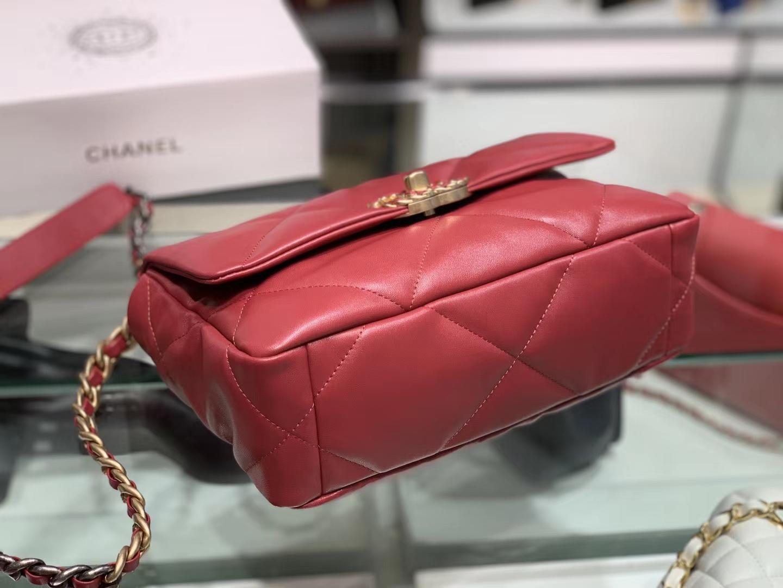 Chanel(香奈儿)19bag 口盖包 # 红色 小羊皮 26cm