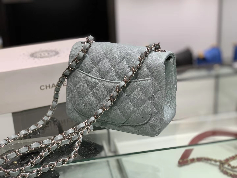 Chanel(香奈儿)cf # 链条包 浅灰蓝 银扣 银链 17cm