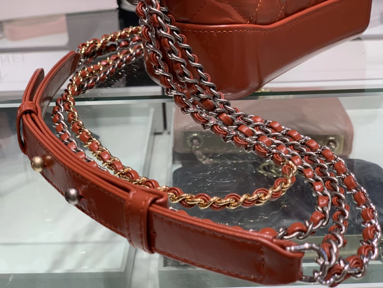 Chanel(香奈儿)𝖌𝖆𝖇𝖗𝖎𝖊𝖑𝖑𝖊 # 流浪包〔铁锈红菱格〕20cm