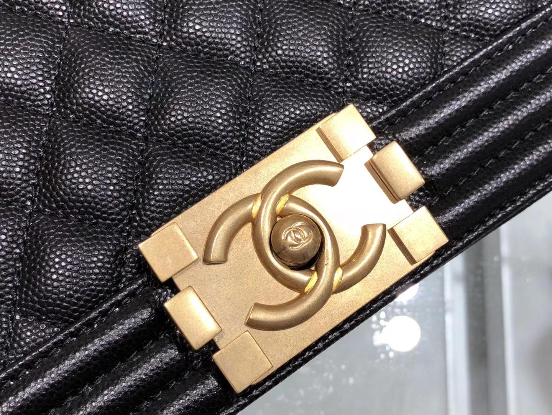 Chanel(香奈儿)Leboy 细球纹小牛皮配搭复古砂金 黑色 菱格 25cm