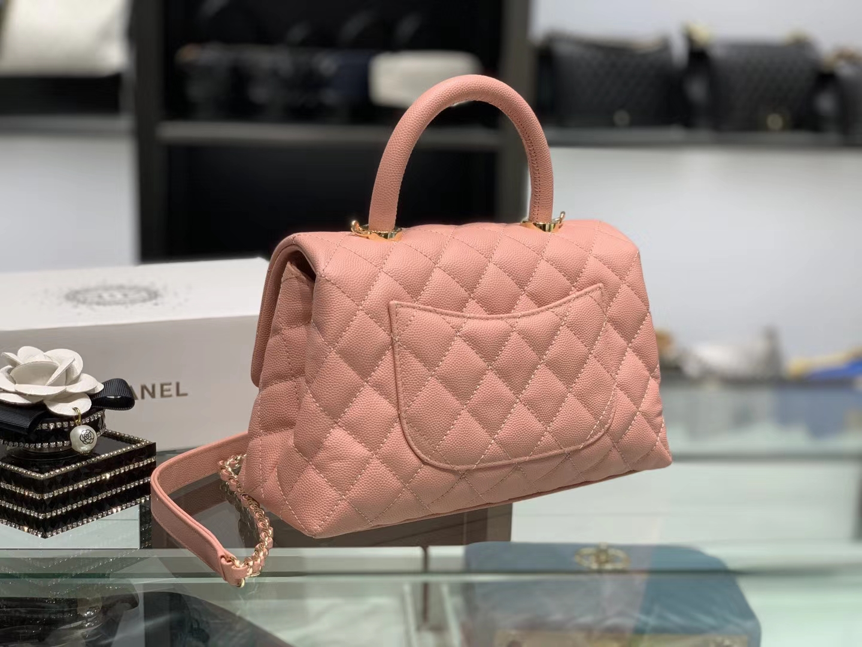 Chanel(香奈儿) coco handle 小号 链条包 浅粉色 金扣 24cm
