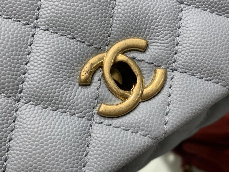 Chanel(香奈儿) coco handle 小号 链条包 灰蓝色 金扣 蜥蜴手柄 24cm