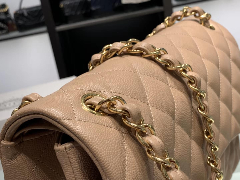 Chanel(香奈儿)cf jumbo 链条包 藕粉色 金扣 30cm