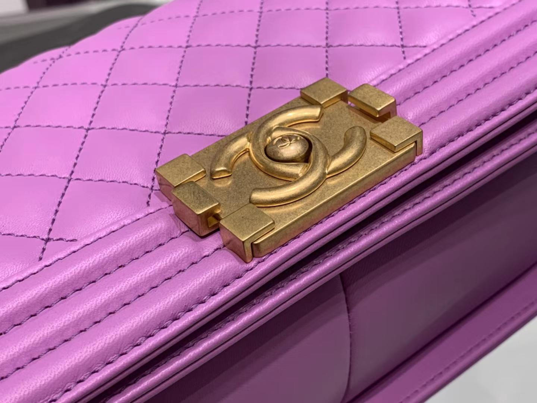 Chanel(香奈儿)Leboy 球纹皮配搭复古砂金 樱花粉 25cm