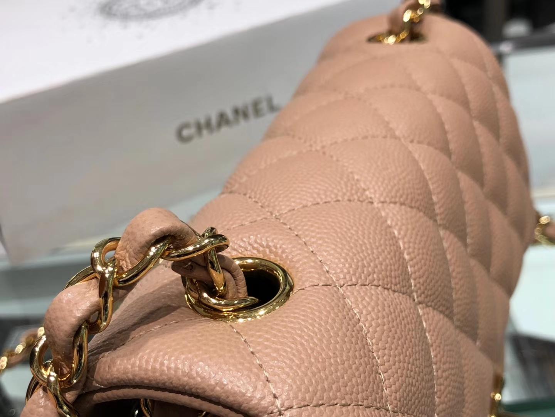 Chanel(香奈儿)cf # 链条包 细球纹 奶茶色 金扣 金链 20cm