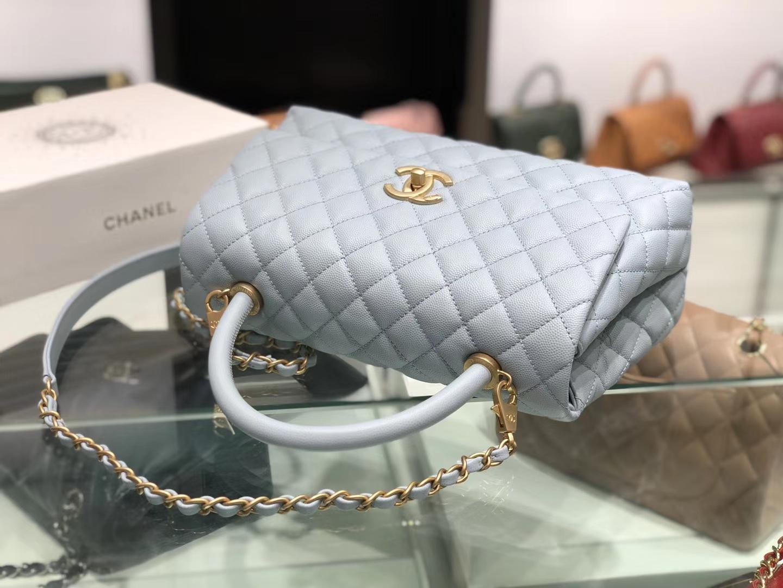 Chanel(香奈儿)coco handle # 中号 菱格包 浅灰蓝 金扣 29cm