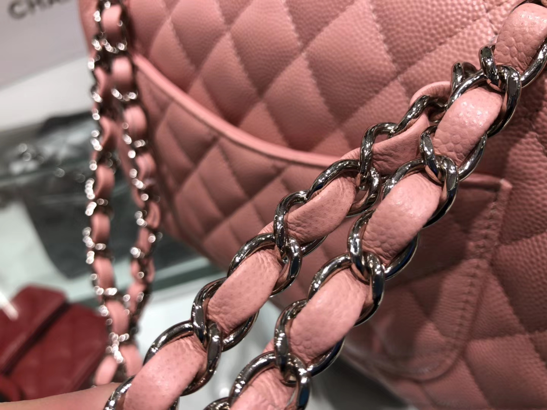 Chanel(香奈儿)cf # 链条包 藕粉色 银扣 银链 23cm