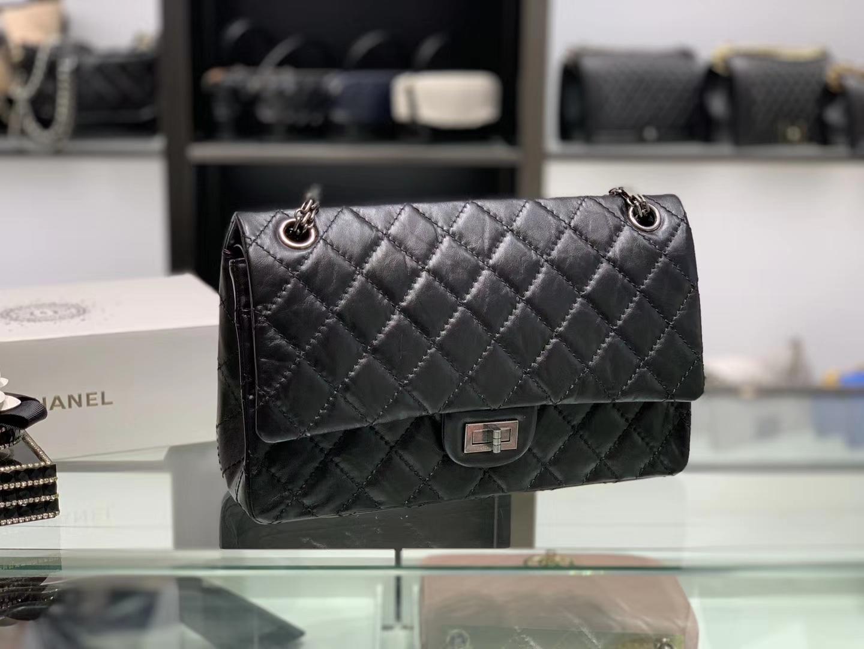 Chanel(香奈儿)reissue 链条包 2.55经典复刻系列 黑色 28cm 银扣