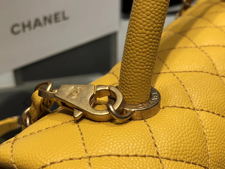 Chanel(香奈儿)coco handle # 中号 菱格包 琥珀黄 金扣 29cm