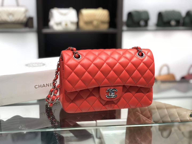 Chanel(香奈儿)cf # 链条包 中国红 银扣 银链 23cm