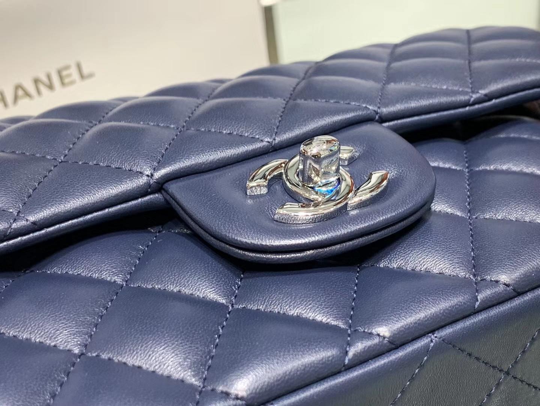 Chanel(香奈儿)cf # 链条包 宝蓝色 银扣 银链 25cm