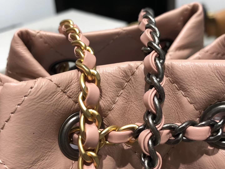 Chanel(香奈儿)𝖌𝖆𝖇𝖗𝖎𝖊𝖑𝖑𝖊 # 流浪背包〔樱花粉菱格〕23×22.5×10.5cm
