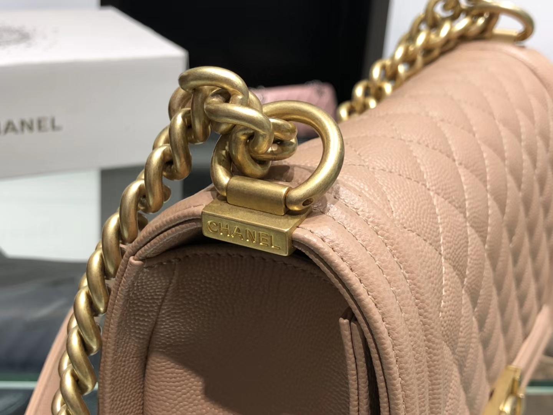Chanel(香奈儿)Leboy 球纹皮配搭复古砂金 杏仁色 25cm