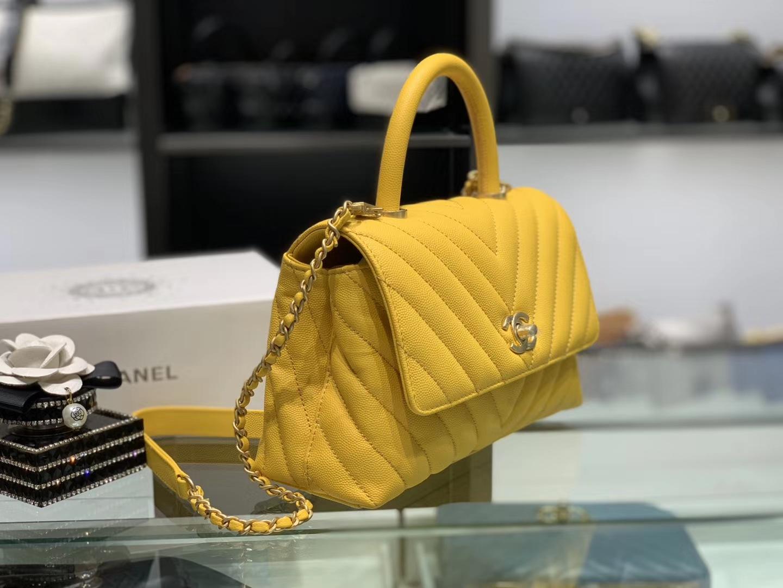 Chanel(香奈儿) coco handle 链条包 小号 明黄色 金扣 24cm